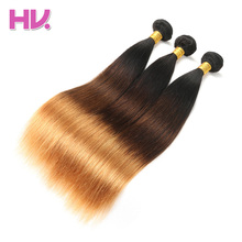 Hair Villa Ombre Brazilian Straight Hair 1B/4/30 3 Tone Color Remy Human Hair Bundle 3pc Salon Low Ratio Longest Hair PCT 15%