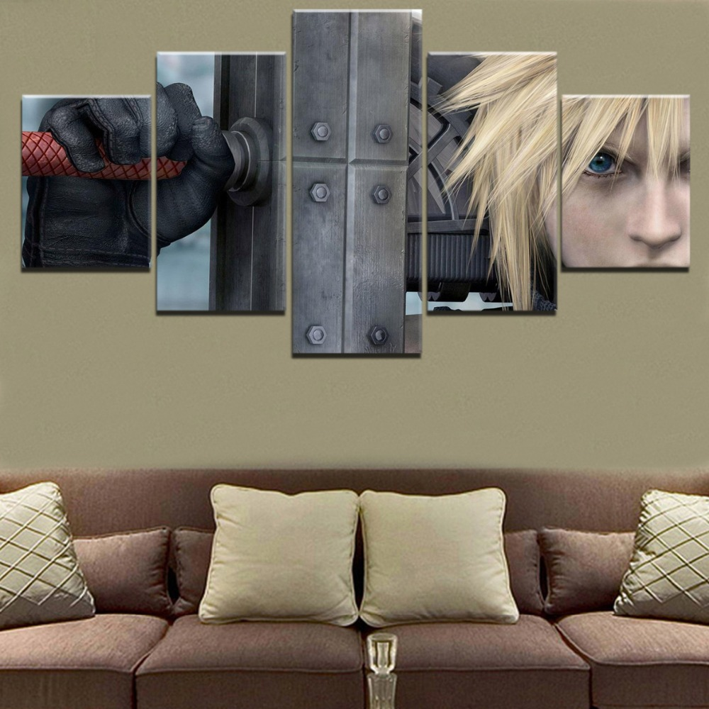 Modular Picture Wall Art Frame Print Game Poster 5 Piece Cloud Strife Final Fantasy VII Sword Canvas Painting For Living Room image