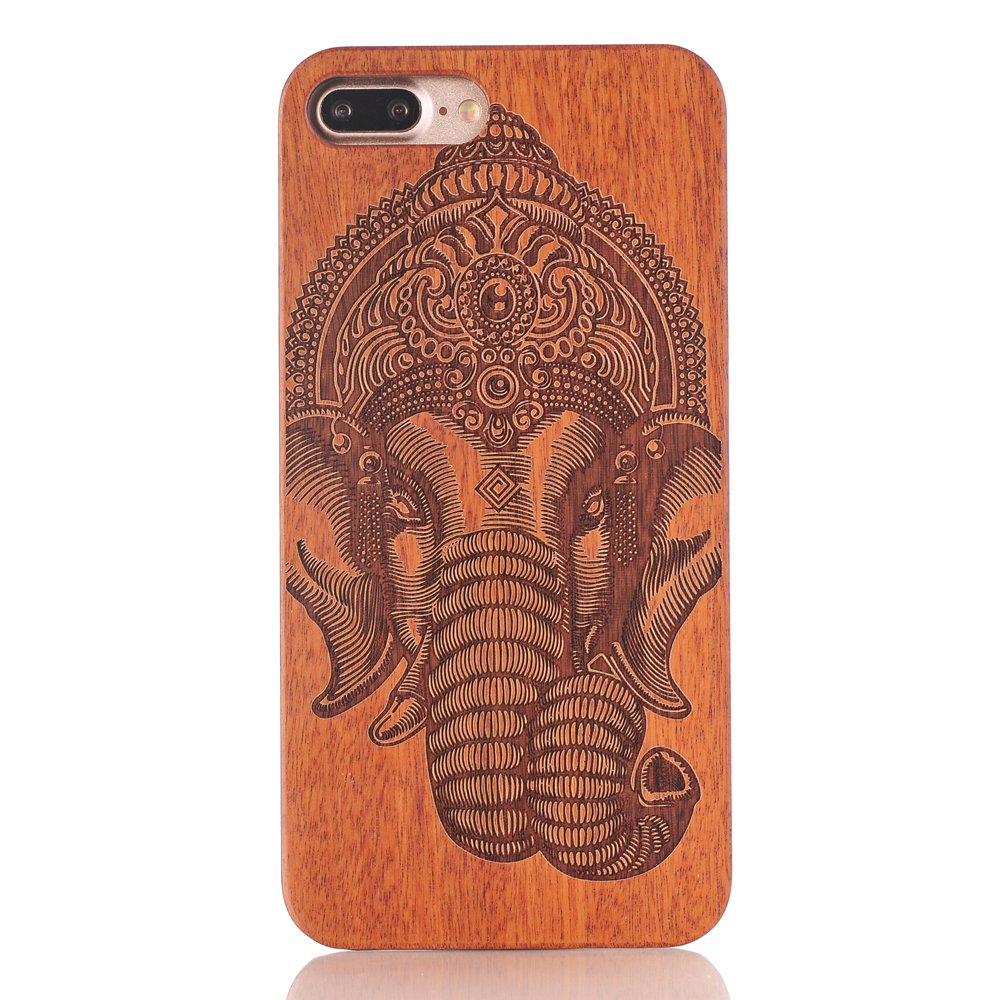 luxury carving pattern real wood case for iphone 7 cover retro