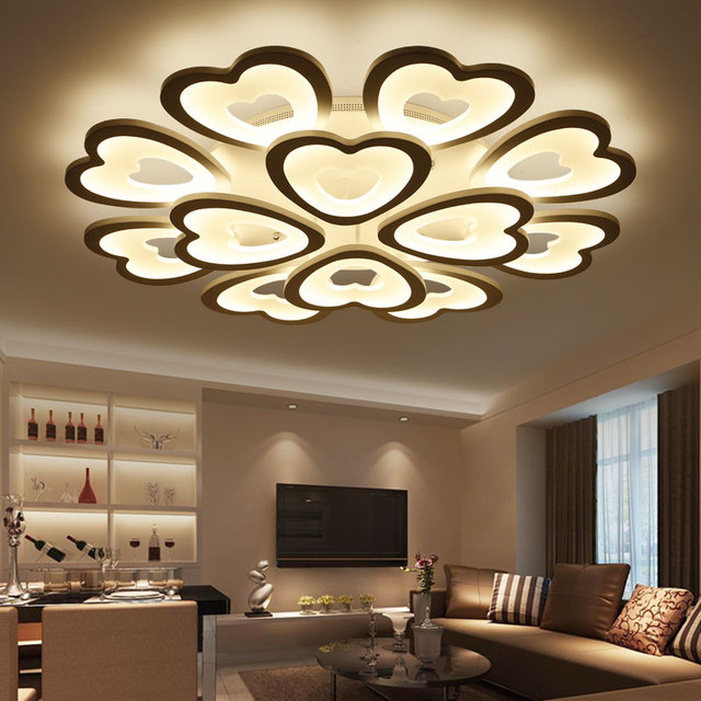 Modern LED Ceiling Lights For Living Room Bedroom Ceiling Lamp Acrylic  Heart Shape LED Ceiling Lighting Home Decor Part 32