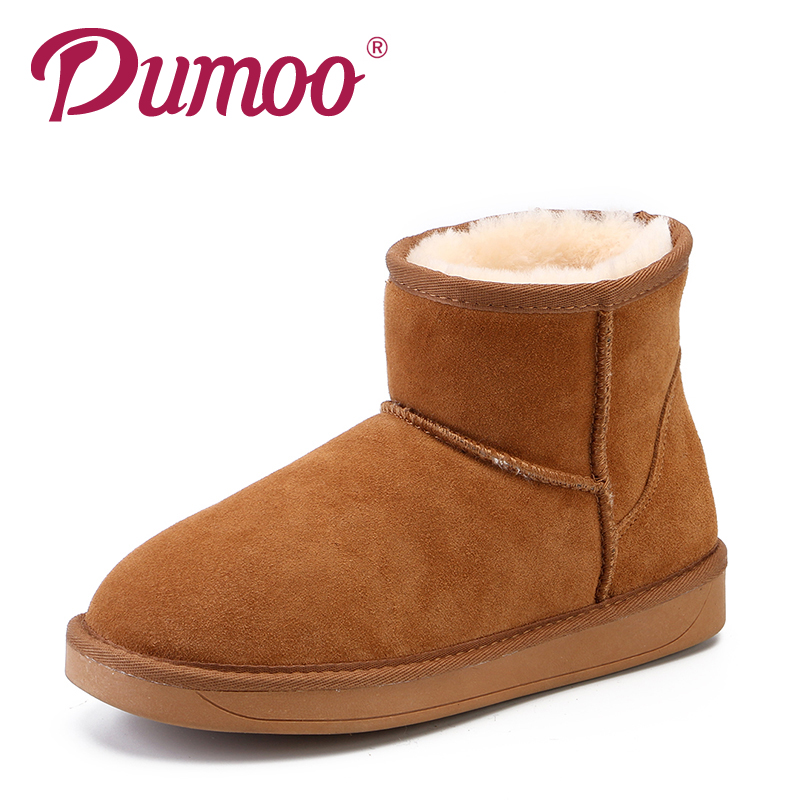 Dumoo Genuine Leather Winter Snow Boots Cow Suede Basic Ankle Boots Lovers Shoes Fur Round Toe Snow Boots Women 35-44 Plus Size women winter flats genuine leather round toe match colored buckle rhinestone fur fashion ankle snow boots size 35 39 sxq0826