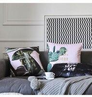 Nordic Rosa Pianta Verde Cuscino Pillow case Lettera Velluto stampa Cuscino Decorativo Copertura del Cuscino Divano Letto Cuscino Sedia