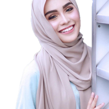 Big Size High Quality Bubble Chiffon Women Muslim Hijab Scarf Shawl Wrap Solid Plain 47 Colors