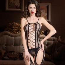 Hollow out open crotch tight fishnet Bodystocking Sexy Lingerie Women sexy Outfit(China)