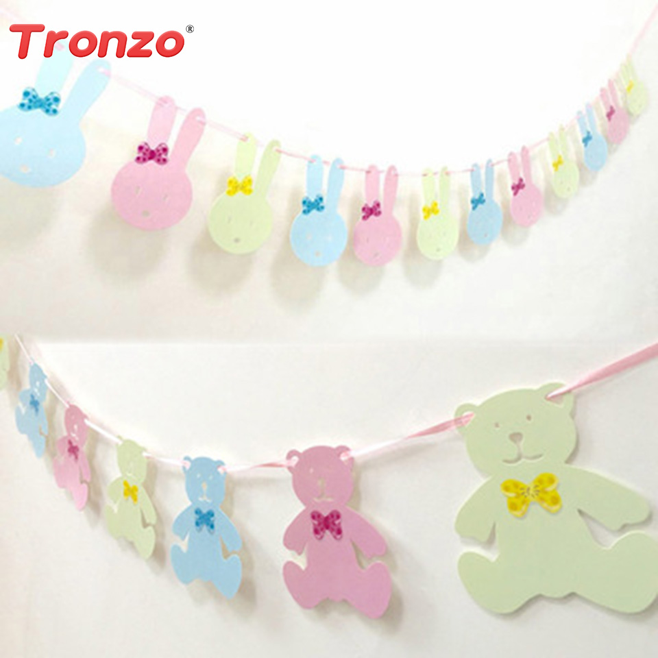 Tronzo 3.2m Paper Cute Rabbit Bear Garlands Wedding Decoration Baby Shower Bunny Garland For Birthday Party Decorations Kids