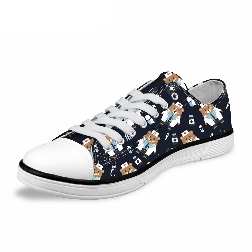 NOISYDESIGNS 2018 Fashion Men Vulcanize Shoes Cartoon Bear Medical Design Low Style Canvas Shoe Man Leisure Lace up Sneakers Boy