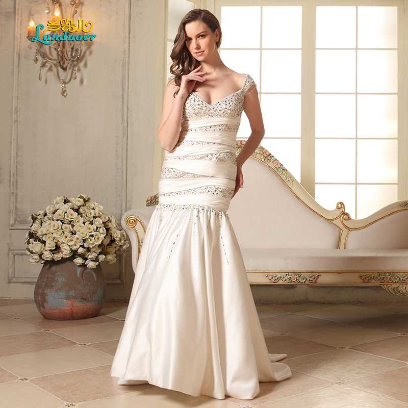 Sexy Cap Sleeve Wedding Dress Deep V Neck Taffeta Mermaid