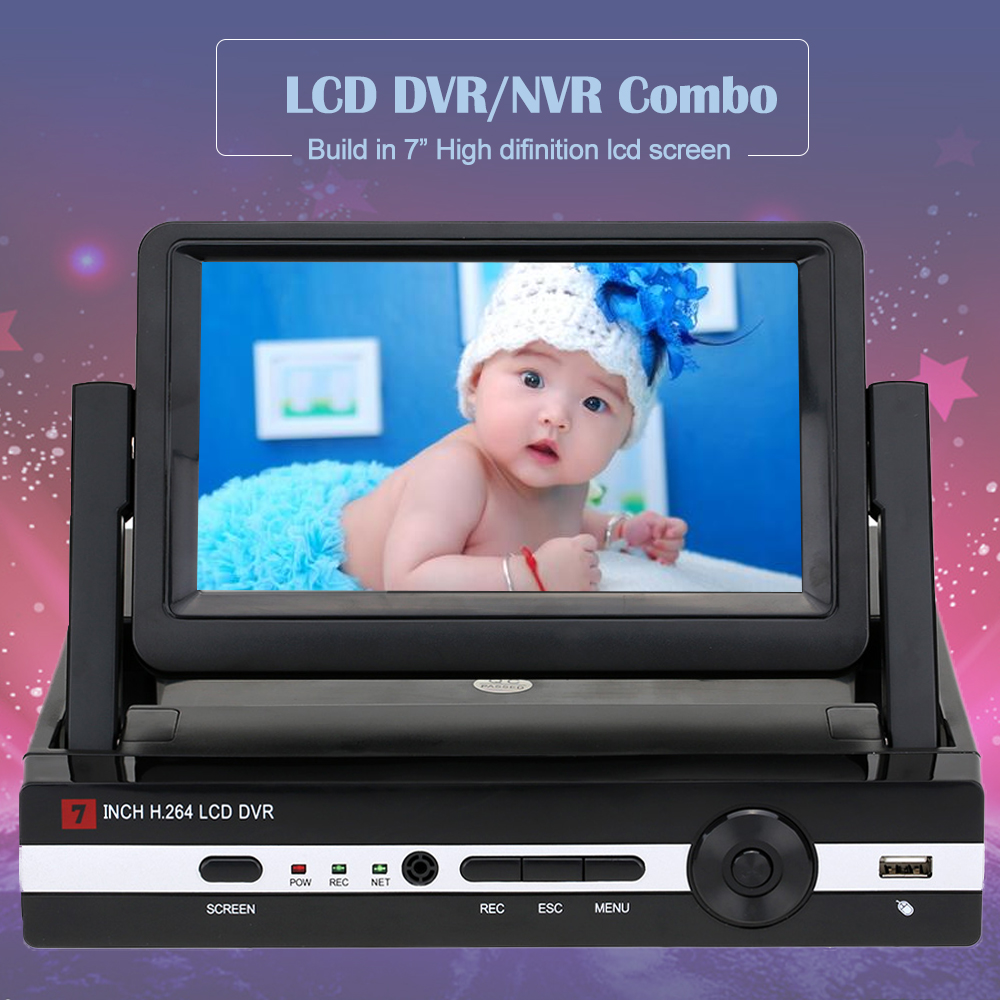 Hiseeu Digital Video Recorder For Cctv 4 Channel 8CH 960N  LCD Screen Hybrid DVR HVR NVR Home Security System P2P Drop Shipping
