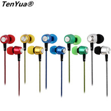 TenYua Plating Stereo Bass Earphone wire braid Earbuds Headset In Ear