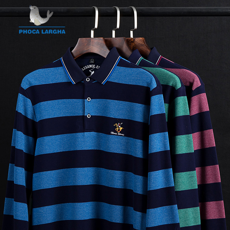 New Men's   Polo   Shirts 3D Embroidery High Quality Tops For Man Long Sleeve Shirts Striped Business Casual Brand   Polos   para hombre