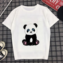 Panda Print Women Tshirt 100% Cotton Casual Funny T Shirt Basic Summer Top Tee Tumblr Sexy Shirt Lady Short Sleeve White O-neck(China)