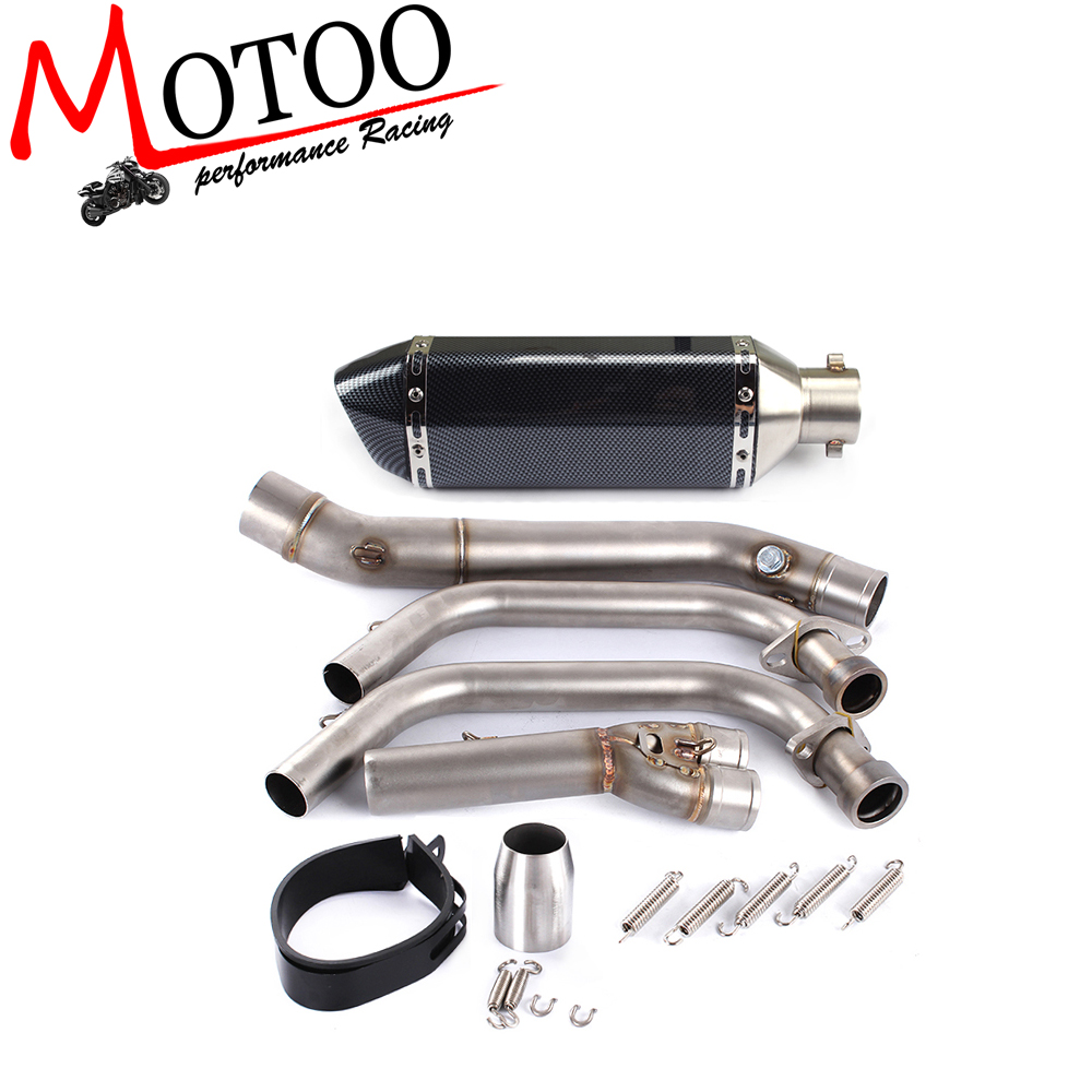 Motoo font b Motorcycle b font Exhaust Full system FOR Yamaha R25 R3 2014 2016 with