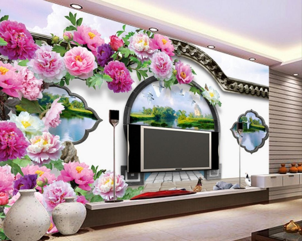 Custom Peony Flowers Photo Wallpaper TV Backdrop Wallpaper 3D Modern Living room Bedroom Home Improvement large custom 3d wallpaper mural 3d wallpaper 3d stereoscopic rose pink flowers living room bedroom tv backdrop box