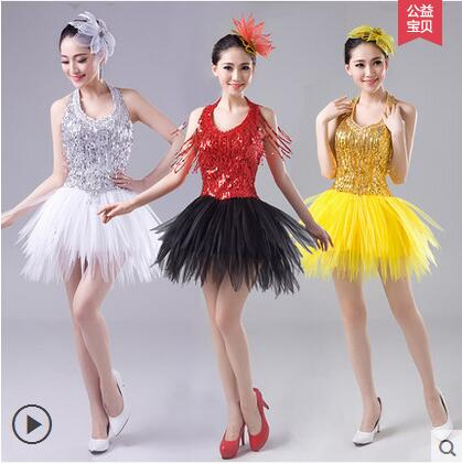 Nightclubs DS Sexy Women New Jazz Dance Stage Pompon Sequin Skirt Modern Dance Costume Performance Dress Adult Dancing Clothes