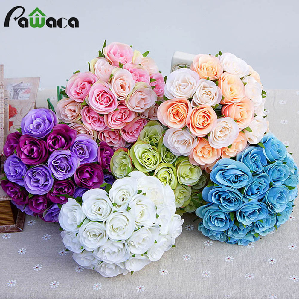 Wedding Decoration Fake Silk Artificial Flower Bride Bouquet Diy
