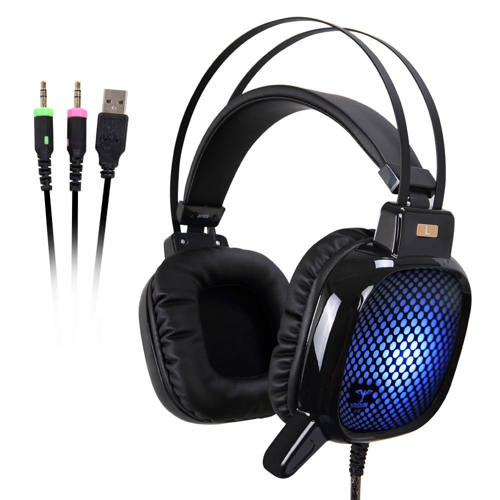 bilder für Hohe Qualität USB & 3,5mm Stereo Ohr Esport Gaming Headset Kopfhörer mit LED-Licht Rauschunterdrückung Mikrofon