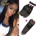 Brasileiro reta cabelo virgem com fechamento queen hair products brasileiro do cabelo humano tecer 3 ou 4 bundles com lace closure