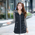 Colete Feminino 2016 Winter Coats Artificial  Casual 7 Colors Zipper Long Hooded Vest Women Outerwear
