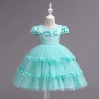 New Little Girls Floral Dress Flower Girls Dress Cute Ball Gown Solid Dress Girls Clothing Children Clothing
