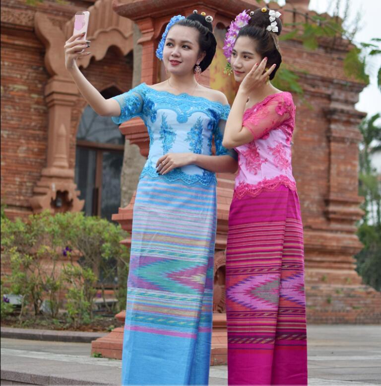 Laos Vietnam Burma Dai Wear Fashion Water Sprinkler Festival Suits Women Short Sleeve Top + Skirt Blue Rose Red Festival Costume