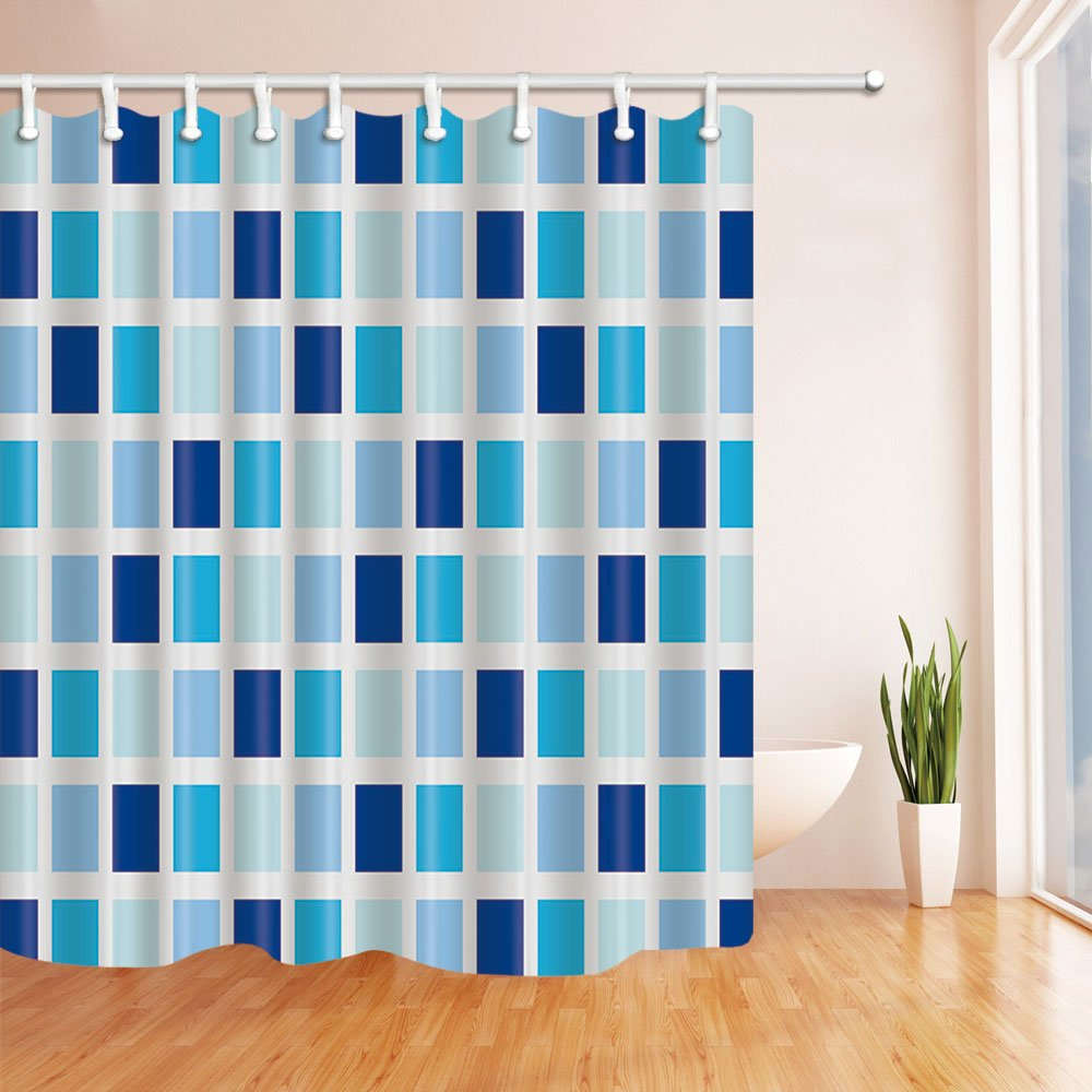 Mosaic Shower Curtain Gradient Blue Square Grid For Lovers Waterproof Polyester Bathroom Decor