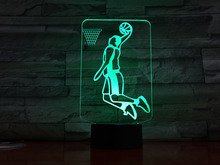 цена на 3d Led Night Light Usb Basketball Player Action Figure Gece Lambasi Children Kids Gift Baby Nightlight Sports Desk Lamp Bedside