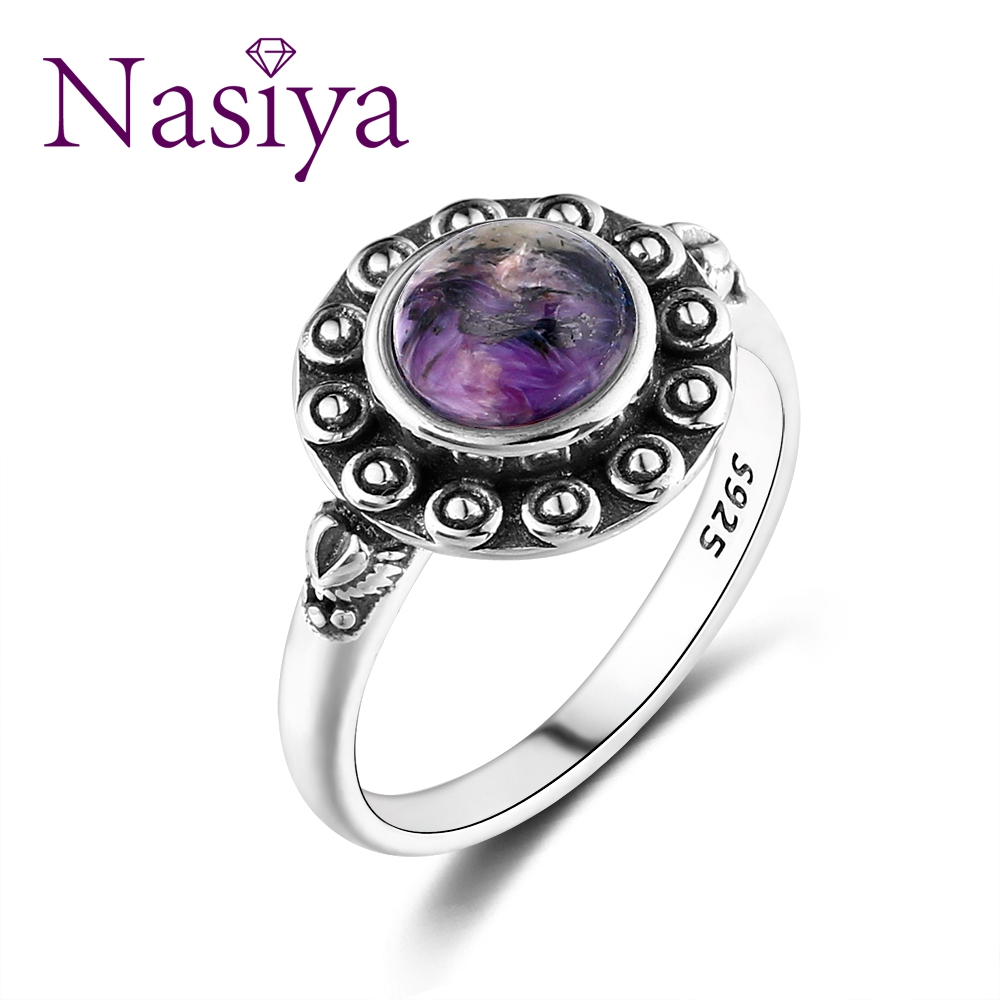 Nasiya Top Brand Ethnic Simple Round Purple Charoite Rings For Women Fine 925 Silver Jewelry Anniversary Party Engagement Gift