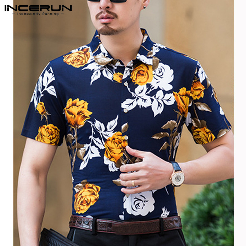 INCERUN Short-sleeved Lapel Flower Shirt New 2019 Summer Men's Middle-aged Printing High-end Business Gentleman Thin Camisas 5XL