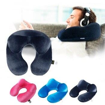 Надувная подушка для путешествий, подушка U-образной формы для шеи, аксессуары для путешествий, 4 цвета, удобные подушки для сна во время пере...