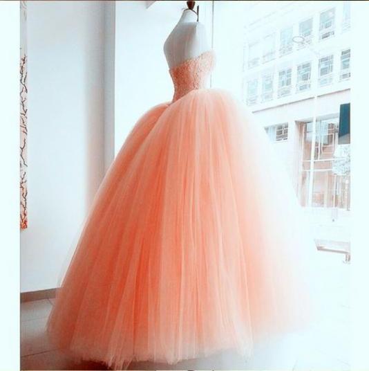 Pink Quinceanera Dresses Orange Ball Gown Sweetheart Tulle Beaded Vestidos De 15 Anos Backless Floor Length Robe De Bal Elegant - 4