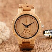 Bambú De Madera Reloj Torre Eiffel de Madera Creativo de Los Hombres Reloj de Pulsera con Banda de Cuero Genuino Reloj Hombre