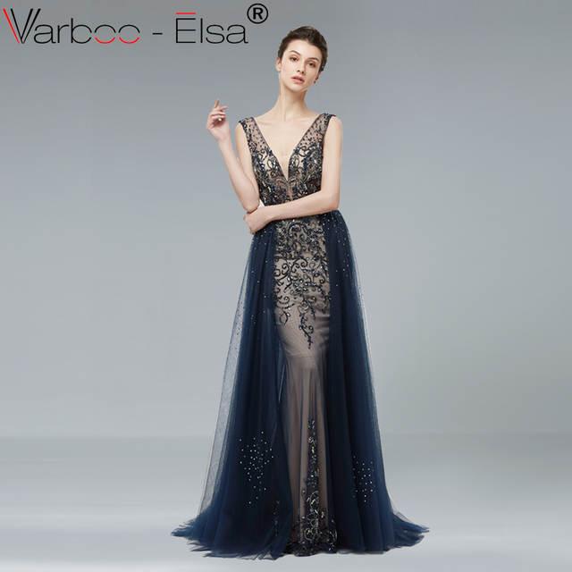 19eca8654 VARBOO ELSA Sexy Dupla Com Decote Em V Longo Prom Vestido Sem Mangas Azul  Marinho Tule Vestido