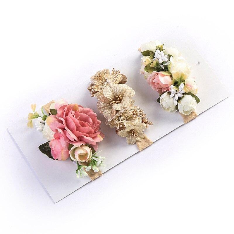 Artificial Fake Flowers Headband Nylon Head Bands With Beautiful Rose For Kids Newborn High Elastic Headdress Hair Accessories