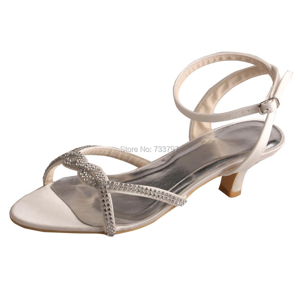 (20 Colors)Custom Handmade Women Low Heel Bridesmaid Shoes Sandals Crystal