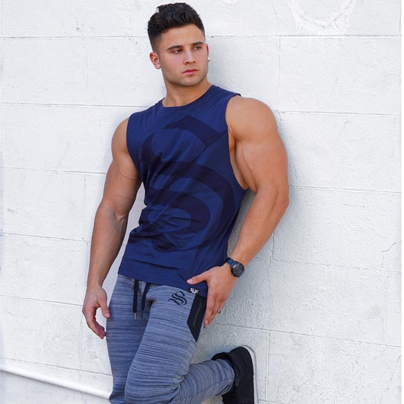 2018 Hot Summer Men's Fashion Fitness Cotton Elastic Breathable Letter Printing Leisure Vests   Tank     Tops   Men Vest Sleeveless