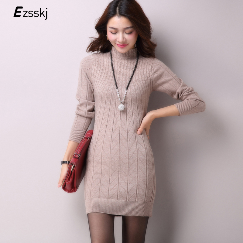 Casual Winter Dress Turtleneck Knitted Cashmer Thick ...
