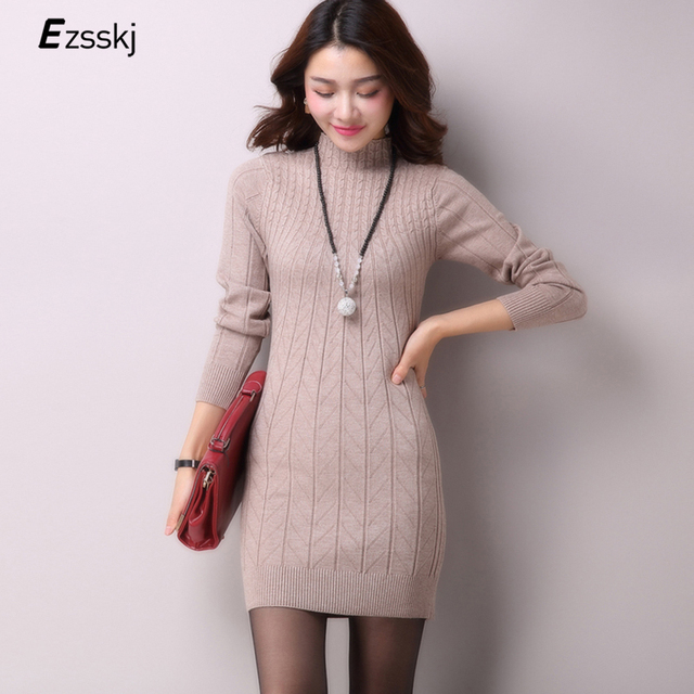 53e2b010bb9 Casual Winter Dress Turtleneck Knitted Cashmer Thick Sweater Dress Warm  Women Cotton Straight Dress Pullover Female Autumn