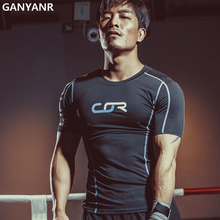 GANYANR Brand Running T Shirt Men Basketball Jersey Compression Tights Tops Sport Fitness Gym Dry Fit Polyester Short Sleeve men s short sleeve fitness bodybuilding running gym breathable t shirt men compression tights basketball crossfit under tee tops