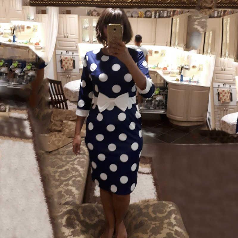 Sisjuly Bodycon נשים מנוקדת בציר שמלת נדן ארוך שרוול Bowknot רטרו משרד לבן קצר מסיבת שמלות קיץ 2019
