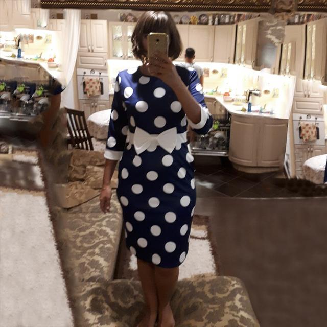 Sisjuly Bodycon Women Polka Dot Vintage Dress Autumn Sheath Long Sleeve Bowknot Retro 2XL Office Party Dresses Girl Winter 2018