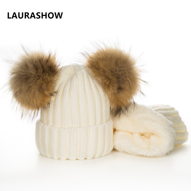 4d4e1dfce47 LAURASHOW Baby Winter Real Mink Fur Ball Beanie Knit Hat Plus Velvet Kids  Warm Raccoon Fur Pom Poms Skullies Beanies Wool Cap