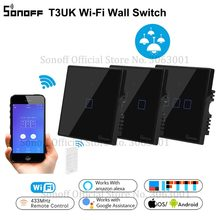 SONOFF T3UK TX Smart Wifi Wall Touch Switch Black With Border Smart Home 1/2/3 Gang 433 RF Remote Control Works With Alexa IFTTT