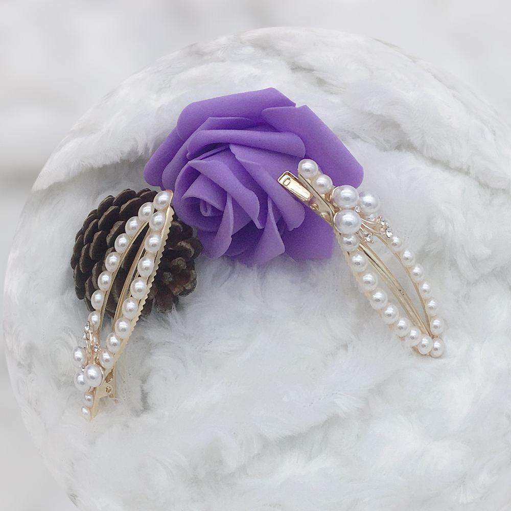 Earofcorn Fashion Girl Shiny Pearl Hairpin Beautiful Touching Flower Hair Clip Hair Accessories Jewelry Gift 1 pair in Hair Jewelry from Jewelry Accessories