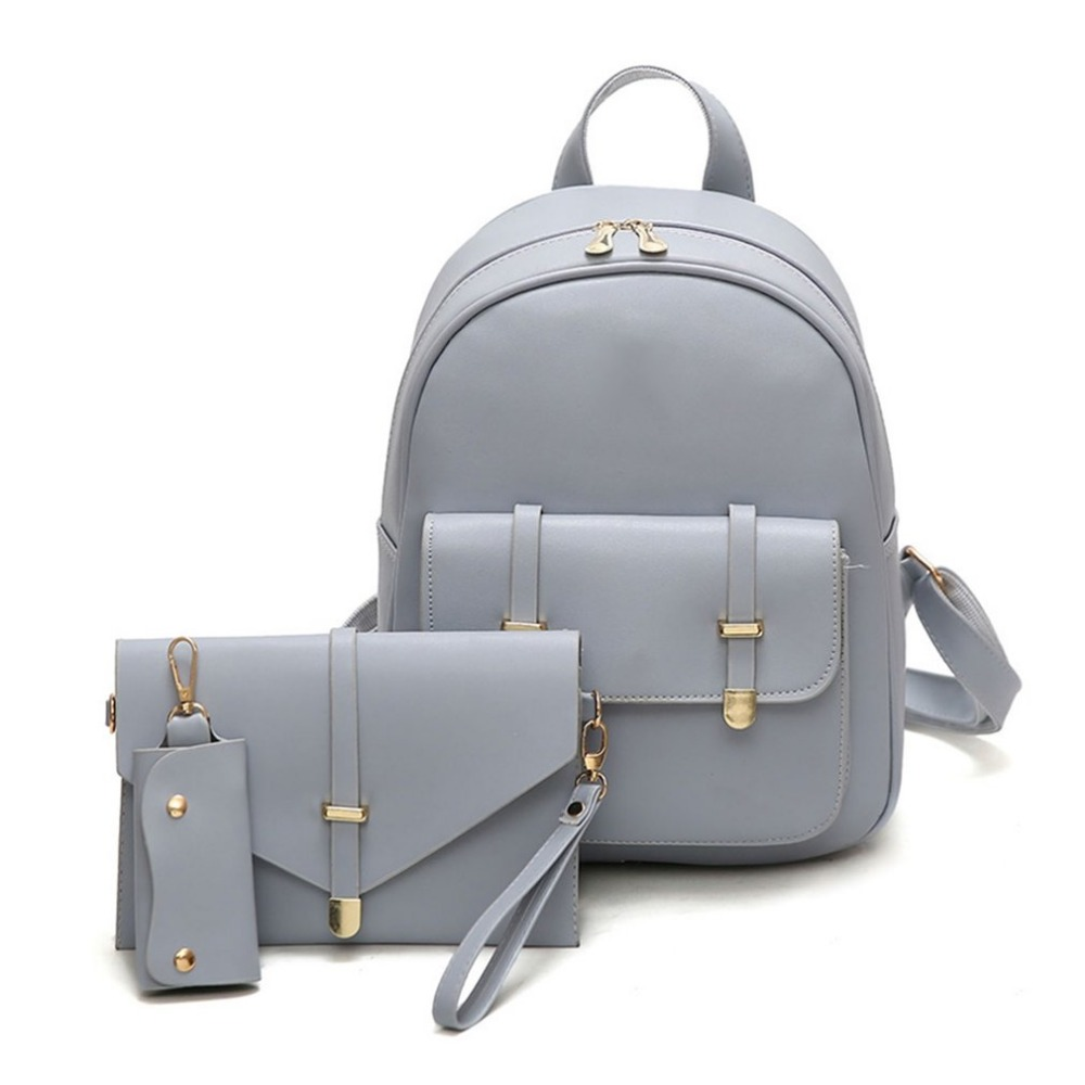 Hot Sale Fashion Women Composite Bag Pu Leather Backpack 1 Set With 3 Pieces Letter Bag Key Bag Cross Body Bag For Women