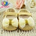Niños JENNY! bebé recién nacido princesa brillantes primeros caminante infantil niños superficial suave soles zapatos de oro para 0-1 años de los bebés
