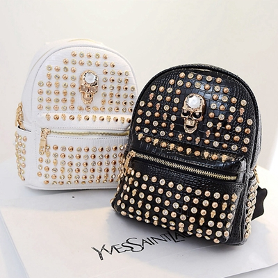 Skull Backpack 2015 New PU Leather Unique Backpacks With rivets ...