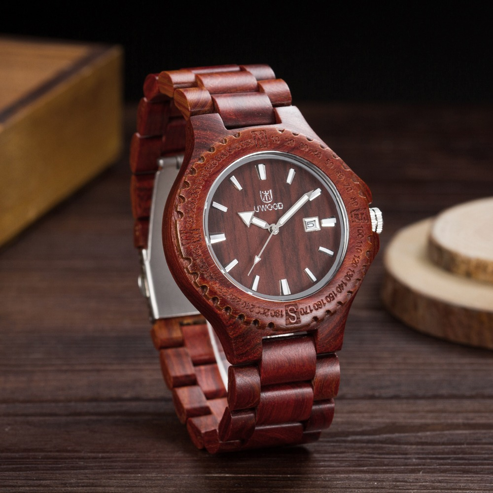 Free Shipping 2018 New Lovers Watch Wooden Quartz Watch For Men Date Display Men's Watches UWOOD Brand Watches Neutral Table
