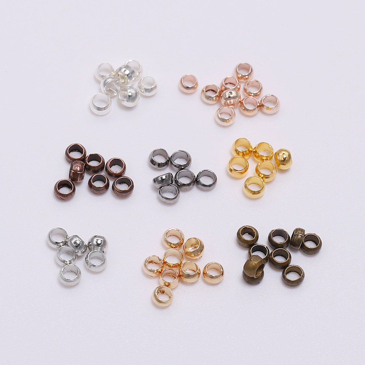 500pcs/lot 2/2.5/3 Mm Silver Gold Antique Bronze Ball Plunger Bead Smooth Ball Crimps Beads For Jewelry Making Finding Accessory