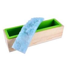 Nicole sabun kalıp seti esnek silikon kalıpları ile ahşap kutu ve izlenim Mat el yapımı kabartmalı Loaf sabun kalıbı