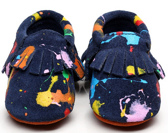 2017 New arrivals Graffiti Suede Genuine Leather Baby Moccasins Shoes newborn first walkers soft sole infant bebe Baby Shoes